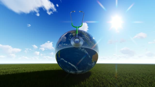 Sunny Planet Earth On Grass For World Health Day