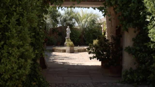 sunny statue/fountain / toledo, spain - cobblestone stock videos & royalty-free footage