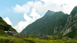 Sunny summer day in nord Italy mountain timelapse video HD
