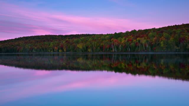 WS T/L Sunrise above Fall Foliage at Bouchard Lake