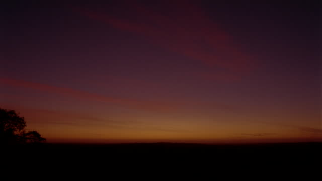 fast motion, ws, sunrise above fields  - 平地点の映像素材/bロール