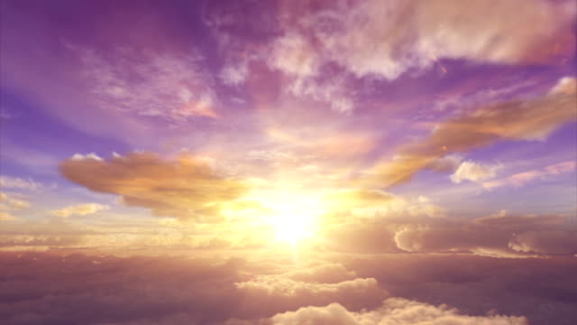 sunrise above the clouds - cumulus stock videos & royalty-free footage