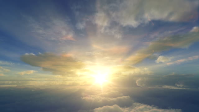 sunrise above the clouds - white cloud sky stock videos & royalty-free footage