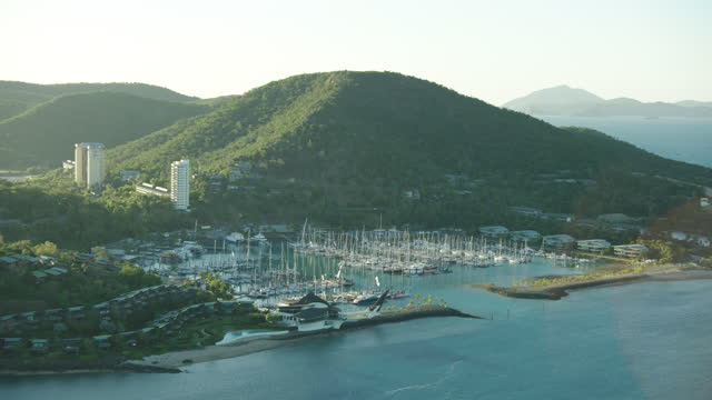 sunrise aerial hamilton island marina great barrier reef - anchored stock videos & royalty-free footage