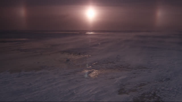 sunrise and ice halo over coast, canada - arctic stock videos & royalty-free footage