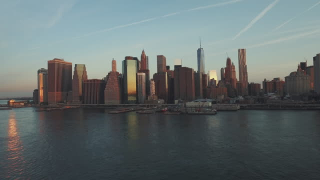 Sunrise and Manhattan skyline, New York, United States