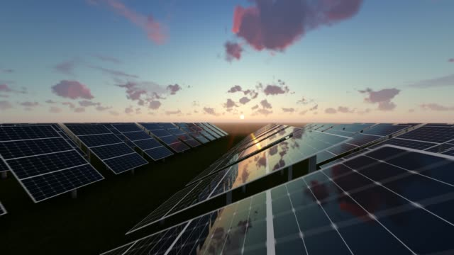 sunrise and technologic solar energy panels - pannello di controllo video stock e b–roll