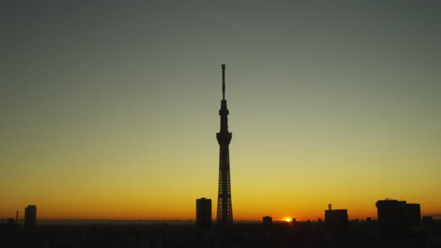 sunrise and tokyo skytree tower in tokyo, japan - tokyo japan stock videos and b-roll footage
