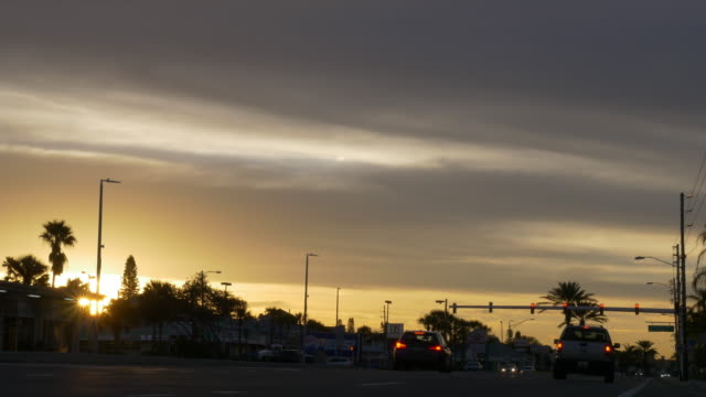 Sunrise and traffic light in Florida