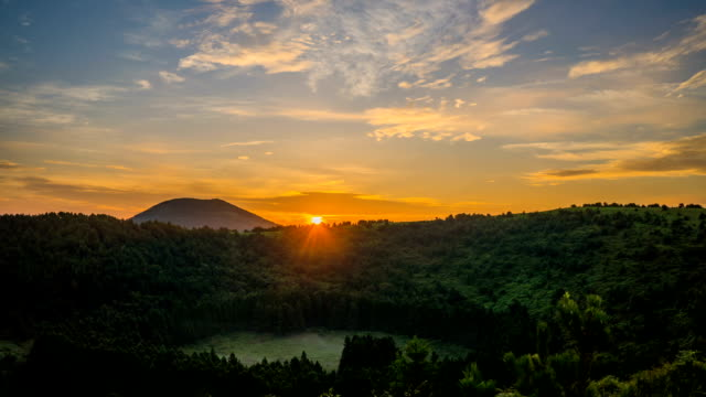 sunrise at abuoreum (cinder cone) coniferous forest in jeju island - mountain peak stock videos & royalty-free footage
