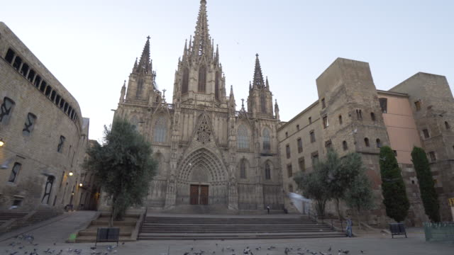 sunrise at cathedral of the holy cross and saint eulalia of barcelona - スペイン点の映像素材/bロール