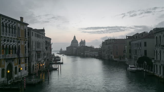Sunrise at Grand Canal and Basilica Santa Maria della Salute, Venice, Italy
