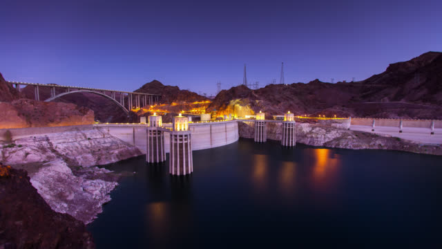 sunrise at hoover dam - time lapse - clark county nevada stock videos & royalty-free footage