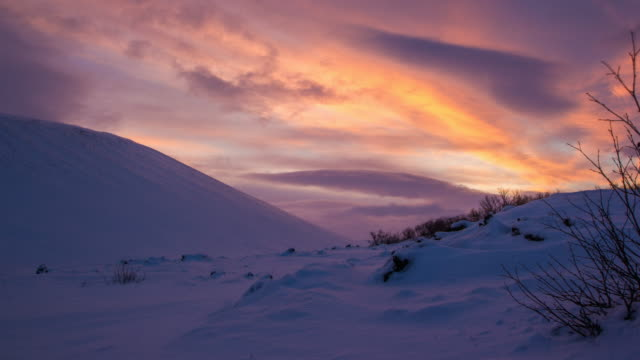 sunrise at hverfjall crater in iceland during winter - sunrise dawn stock videos & royalty-free footage