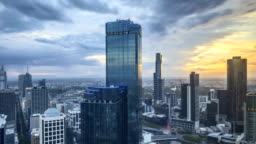 Sunrise at Melbourne City Skyline. 4k Time lapse.