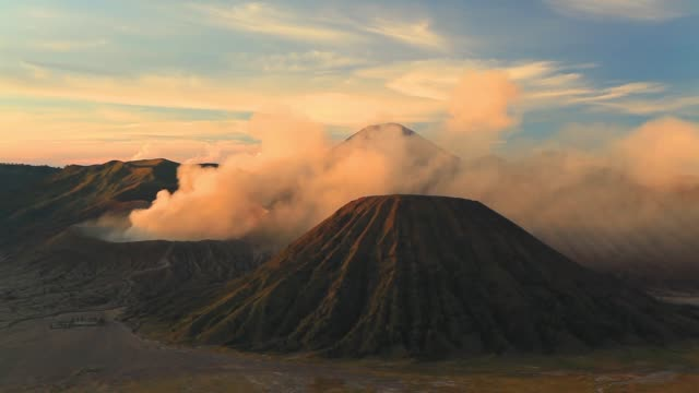 sunrise at mount bromo volcano, east java, indonesia. - tengger stock videos & royalty-free footage