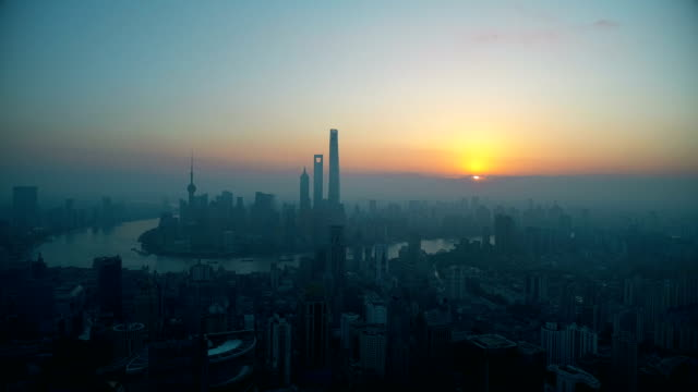 Sunrise at Shanghai city,shot by drone