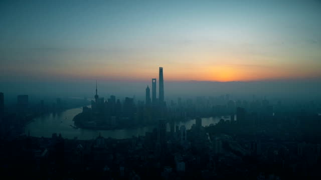 sunrise at shanghai city,shot by drone - urban sprawl stock videos & royalty-free footage