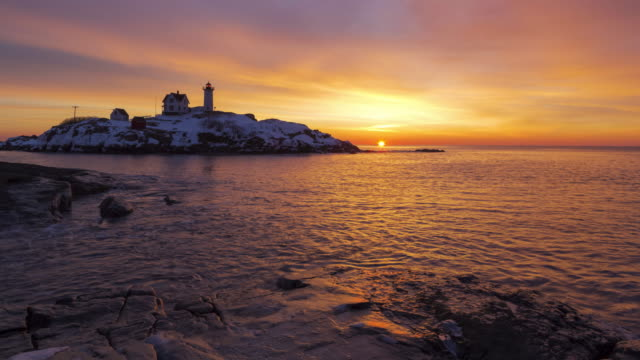 sunrise at the lighthouse - new england usa stock videos and b-roll footage
