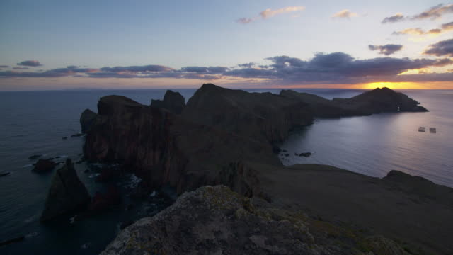 Sunrise at the Sao Lourenco peninsula. High cliffs and multiple sea stacks make this narrow cape an interesting destination to explore.