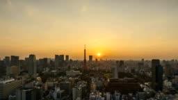 Sunrise at Tokyo city skyline