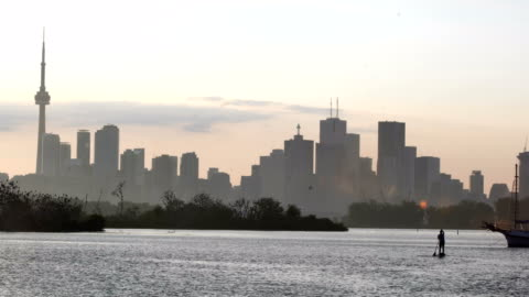 sunrise at view of toronto - ontario canada stock videos & royalty-free footage