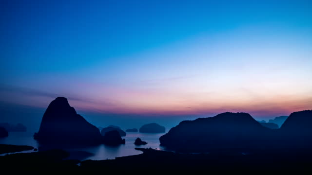 T/L TU Sunrise at view point of island in the sea,Samet Nang She, Phang-Nga Bay, Thailand