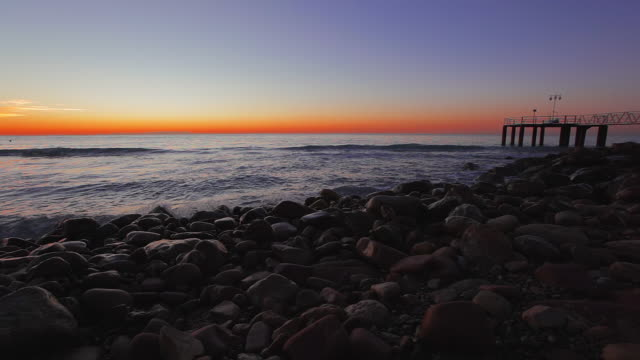 sunrise at wooden gazebo over the mediterranean sea - gazebo stock videos & royalty-free footage