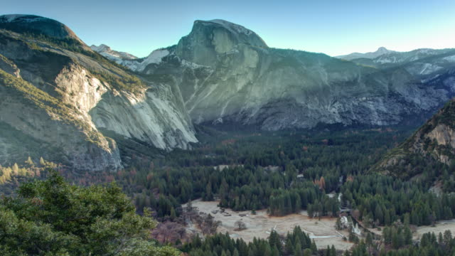 sunrise at yosemite valley. - half dome stock videos & royalty-free footage