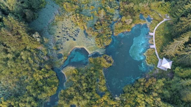 スロベニアの zelenci 温泉の日の出 - 地形点の映像素材/bロール
