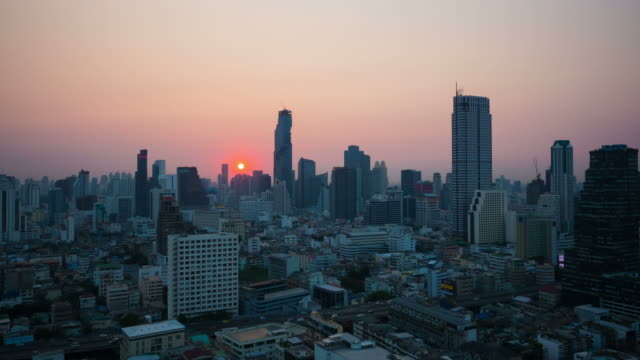 Sunrise. Bangkok city skyline. Timelapse.