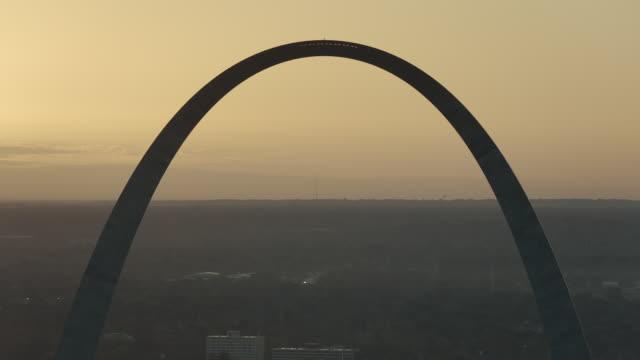 Sunrise Behind Gateway Arch In St Louis