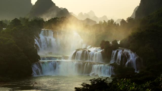 Sunrise bird eye view Bangioc waterfall in Vietnam and Detian waterfall in China, located near border, people can see this waterfall both of country.