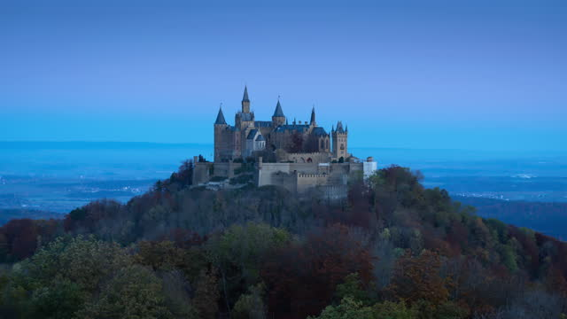 sunrise burg hohenzollern time lapse hohenzollern castle autumn germany 4k - ancient stock videos & royalty-free footage