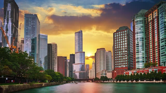 sunrise chicago city - idyllic stock videos & royalty-free footage