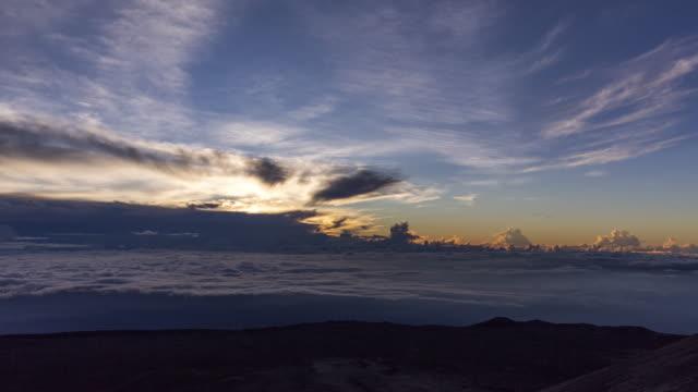 sunrise cloudscape timelapse over summit of mauna kea landscape. hawaii, usa - astrophysics stock videos & royalty-free footage