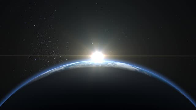 Sunrise from space. Sunrise over the Earth. The earth rotates towards the sun. Volumetric clouds. The still camera shoots at 36mm. Starry sky. 4K. 3d rendering. NASA.