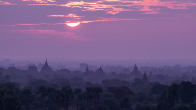 sunrise in bagan, myanmar timelapse 4k - myanmar stock videos and b-roll footage