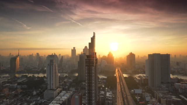 sunrise in bangkok city, thailand - twilight stock videos & royalty-free footage
