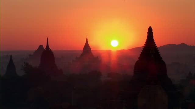 sunrise in began ruins in myanmar - myanmar stock videos and b-roll footage