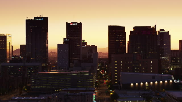 sunrise in downtown phoenix - drone shot - twilight stock videos & royalty-free footage