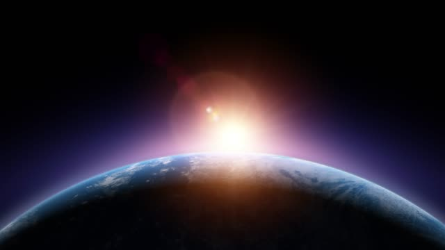 vídeos de stock, filmes e b-roll de nascer do sol em exoplaneta com oceano e nuvens - imagem de satélite