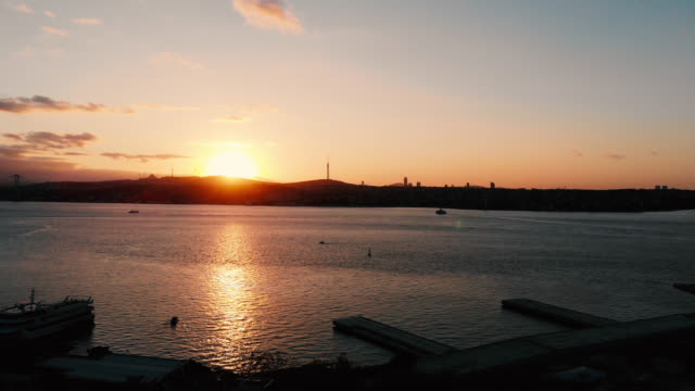 sunrise in istanbul bosphorus aerial - byakkaya stock videos and b-roll footage