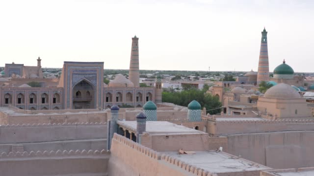 sunrise in khiva - minaret stock videos & royalty-free footage