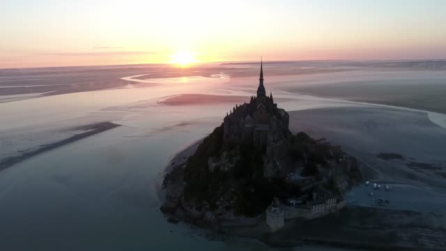 sunrise in mont saint-michel, aerial view by drone - english channel stock videos and b-roll footage