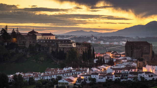 sunrise in ronda, spain - time lapse - españa stock videos and b-roll footage