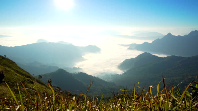 sunrise in the morning and wave of cloud on mountain - chiang rai province stock videos and b-roll footage