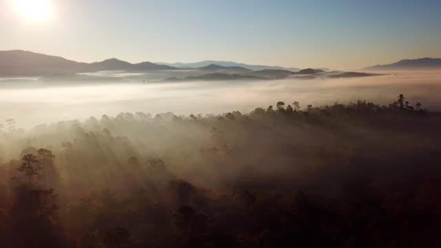 vídeos y material grabado en eventos de stock de amanecer por la mañana con rayo de sol tiro aéreo de niebla y montaña - rayo de sol