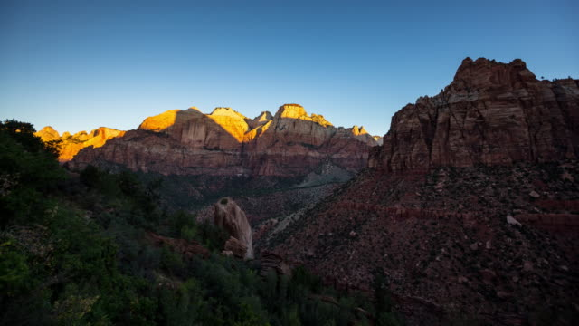 sunrise in zion - time lapse - zion national park stock videos & royalty-free footage