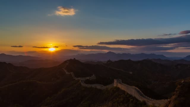 t/l sunrise of jinshanling great wall, beijing, china - great wall of china stock videos & royalty-free footage